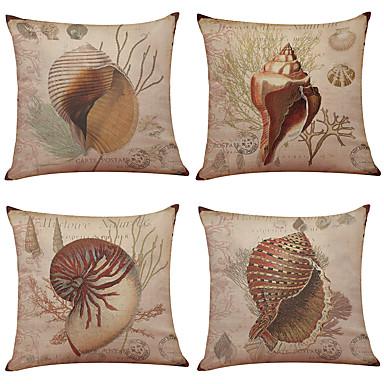 4.0 Stück Leinen Natürlich / Organisch Kissenbezug, Solide Texture Strand Design Traditionell-Klassisch Büro/Geschäftlich