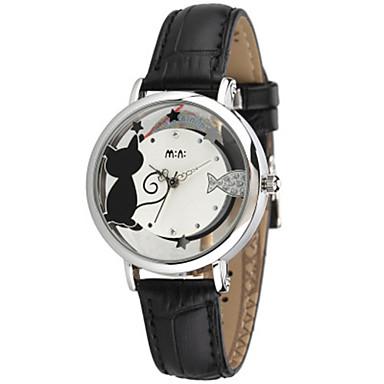 Dames Modieus horloge Kwarts Leer Band Zwart Wit