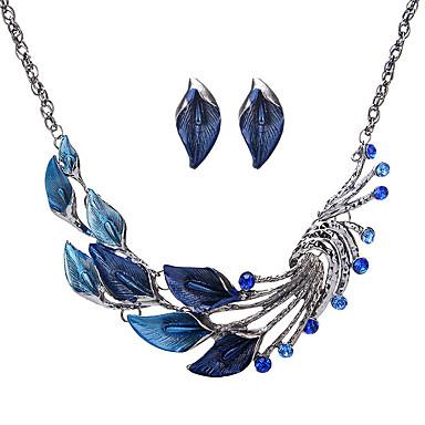 Dames Sieraden Set Bergkristal Legering Bladvorm Euramerican Modieus Feest 1 Ketting 1 Paar Oorbellen Kostuum juwelen