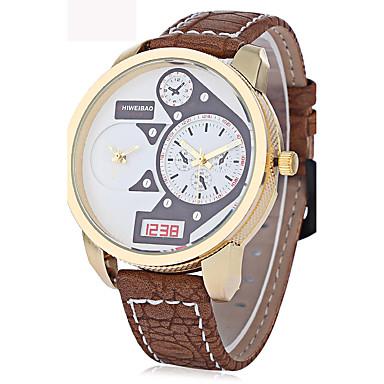 Bărbați Quartz Ceas de Mână Ceas Militar  Ceas Sport Chineză Calendar Rezistent la Apă Zone Duale de Timp  Piele Autentică Bandă Charm
