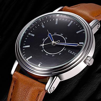 Heren Polshorloge Modieus horloge Vrijetijdshorloge Kwarts Leer Band Informeel Elegant Cool Zwart Bruin