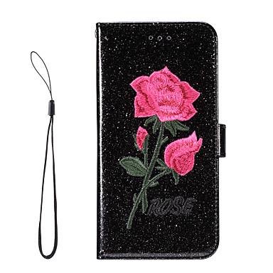 غطاء من أجل Samsung Galaxy S8 Plus S8 حامل البطاقات محفظة مع حامل قلب كامل الجسم بريق لماع زهور قاسي جلد اصطناعي إلى S8 S8 Plus S7 edge
