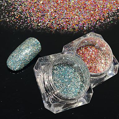 2bottles / set 0.2g / sticla de moda diy starry efect superba unghii art platină sclipici putere galaxie strălucitoare decorare