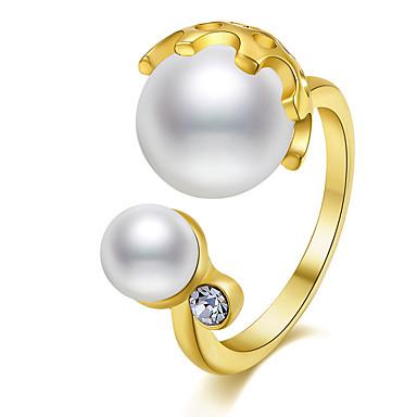 Dames Ring Statement Ring Imitatie Parel Diverse Kleuren Koper Verguld Muovi Geometrische vorm Gepersonaliseerde Luxe Klassiek Standaard