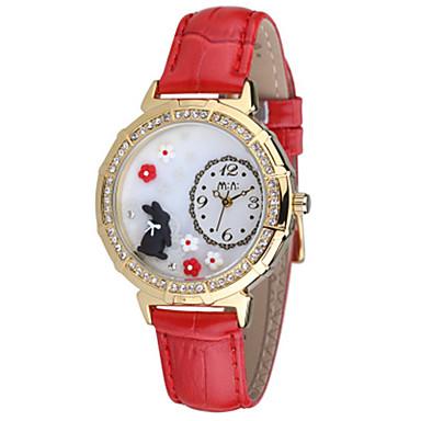 Dames Modieus horloge Kwarts Leer Band Blauw Rood Roze