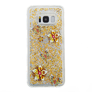 Hülle Für Samsung Galaxy S8 Plus S8 Mit Flüssigkeit befüllt Transparent Muster Rückseitenabdeckung Durchsichtig Glänzender Schein Blume