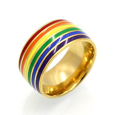 Herrn Damen Bandringe Statementringe Ring Personalisiert Geometrisch Kreisförmiges Einzigartiges Design Retro Regenbogen Doppelschicht