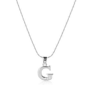 Heren / Dames Alfabetvorm Zirkonia Zirkonia Hangertjes ketting - Logostijl / Bohémien / USA Zilver Kettingen Voor Bruiloft / Vuosipäivä