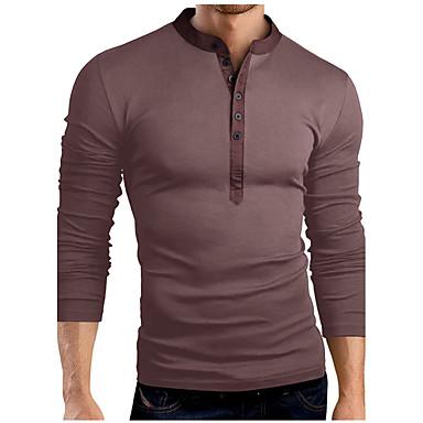 economico Abbigliamento uomo-T-shirt Per uomo Essenziale Tinta unita Colletto alla coreana - Cotone Grigio XL / Manica lunga / Primavera / Autunno / Taglia piccola