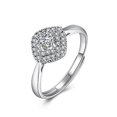 Damen Ring Silber Sterling Silber Zirkon Einzigartiges Design Quadrat Geburtstag Geschäft Geschenk Alltag Büro & Karriere Modeschmuck