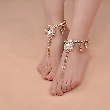Künstliche Perle Barfußsandalen - Damen Gold Silber Fusskettchen Für Alltag Normal
