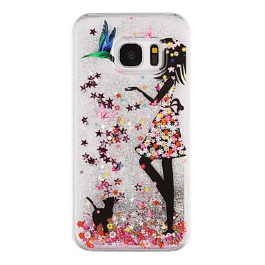hoesje Voor Samsung Galaxy S8 Plus S8 Stromende vloeistof Transparant Patroon Achterkantje Transparant Sexy dame Glitterglans Hard PC voor