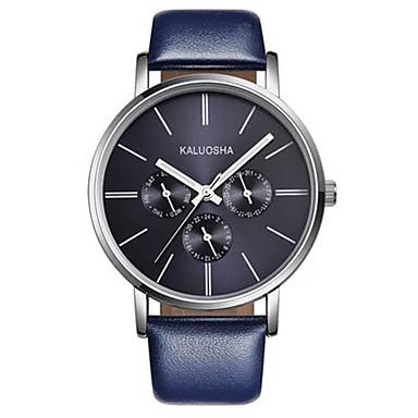 Heren Modieus horloge Kwarts Waterbestendig Leer Band Glitter Zwart Blauw