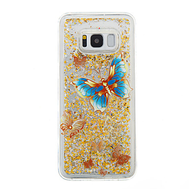 hoesje Voor Samsung Galaxy S8 Plus S8 Stromende vloeistof Transparant Patroon Achterkantje Vlinder Transparant Glitterglans Zacht TPU voor