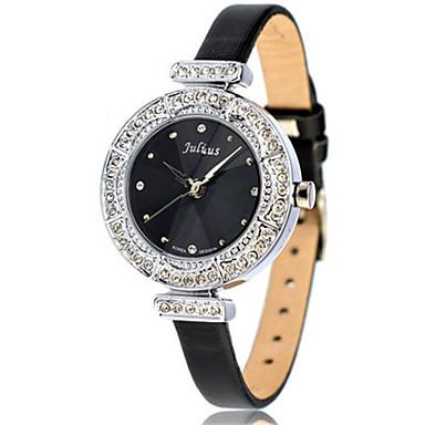 Damen Modeuhr Armband-Uhr Japanisch Quartz Wasserdicht Leder Band Schwarz Weiß Gold