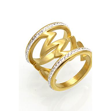 Heren Dames Ring Statement Ring Bandring Zirkonia Goud Zilver Kubieke Zirkonia Titanium Staal 18K Goud Rond Geometrische vorm