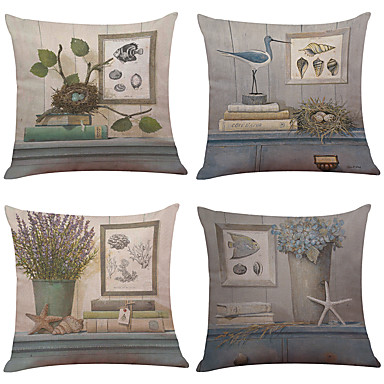 Set von 6 literarischen Stil gedruckt Leinen Hause Büro Sofa quadratischen Kissen Fall dekorative (18