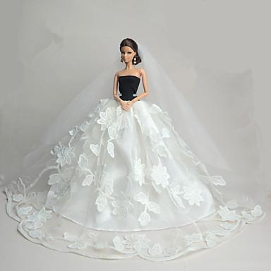 زفاف فساتين إلى الدمية باربي فستان إلى لفتاة دمية لعبة
