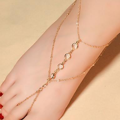 Drop Kristal Blote voeten sandalen - Dames Goud / Zilver Modieus Enkelring Voor Dagelijks / Causaal