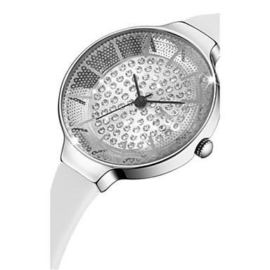 Damen Modeuhr Pavé-Uhr Quartz Wasserdicht PU Band Weiß