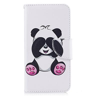 لهواوي p10 p9 لايت حالة تغطية الباندا نمط بو المواد بطاقة الدعامات المحفظة حالة الهاتف غالاكسي 6x y5ii p8 لايت (2017)