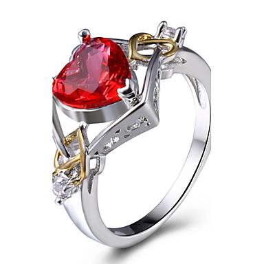 للمرأة خواتم بيان خاتم الماس الاصطناعية مخصص ترف كلاسيكي أساسي موضة euramerican في أسلوب بسيط بريطاني نحاس بلاتين مطلي زجاج Geometric