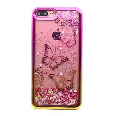 voordelige iPhone 5 hoesjes-hoesje Voor Apple iPhone 8 Plus / iPhone 8 / iPhone 7 Plus Beplating / Stromende vloeistof / Patroon Achterkant Vlinder / Glitterglans Zacht TPU