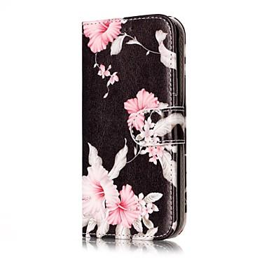 Maska Pentru Samsung Galaxy J7 (2016) J5 (2016) Titluar Card Portofel Cu Stand Întoarce Carcasă Telefon Floare Greu PU piele pentru J7
