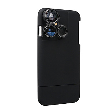 4 in 1 iphone 7 lenscase camera lens kit vis oog lens / macro lens / groothoek lens / telelens zwart (past alleen in de telefoon 7-4,7