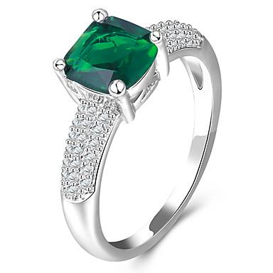 Dames Ring Synthetische Diamant Luxe Klassiek Standaard Modieus Euramerican Eenvoudige Stijl Brits Koper Platina Verguld Glas