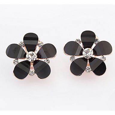 Damen Ohrstecker Tropfen-Ohrringe Kreolen Strass Basis Einzigartiges Design Logo Stil Strass Freundschaft Beidseitig nette Art Blumen