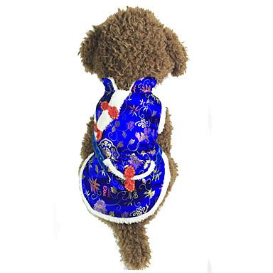 كلب سترة ملابس الكلاب رأس السنة الأزهار/النباتية أحمر أزرق كوستيوم للحيوانات الأليفة