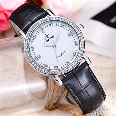 Dames Modieus horloge Kwarts Leer Band Zwart Wit Blauw Rood Groen Roze