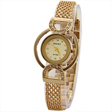 Damen Simulierter Diamant Uhr Einzigartige kreative Uhr Modeuhr Chinesisch Quartz Imitation Diamant Metall Band Glanz Schwarz Gold