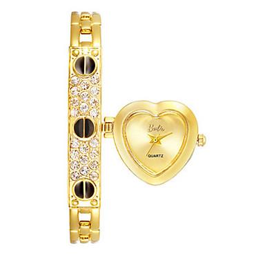 Damen Modeuhr Armband-Uhr Quartz Legierung Band Heart Shape Schwarz Gold