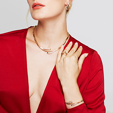 여성용 보석 세트 귀걸이 팔찌 새해 맞이 유니크 디자인 파티 베이직 링크/체인 패션 유럽의 미니멀 스타일 파티 특별한 때 생일 약혼 라인석 합금 Circle Shape 팔찌 목걸이 귀걸이 반지