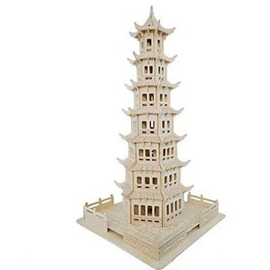 3D-puzzels Legpuzzel Houten modellen Modelbouwsets Toren Beroemd gebouw Huis Simulatie Hout Natuurlijk Hout Kinderen Unisex Geschenk