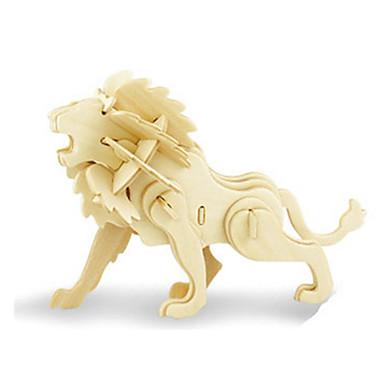 قطع تركيب3D تركيب النماذج الخشبية ديناصور طيارة أسد حيوان 3D اصنع بنفسك خشبي خشب كلاسيكي للجنسين هدية