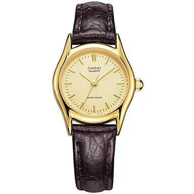 Casio Damen Modeuhr Armbanduhr Armbanduhren für den Alltag Japanisch Quartz Wasserdicht Leder Band Bequem Elegante Braun