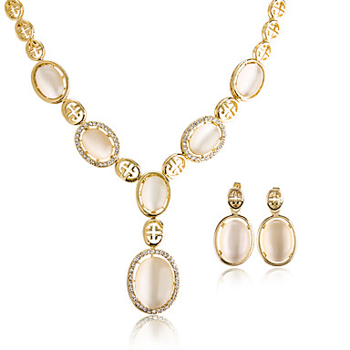 Dames Hangertjes ketting Opaal Synthetische Opaal Meetkundig Cirkelvormig ontwerp Hangende stijl Klassiek Vintage Verstelbaar Bruiloft
