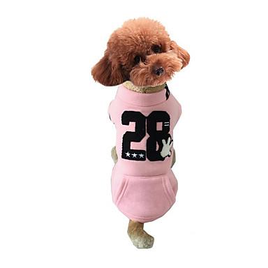 كلب كنزة ملابس الكلاب دافئ كاجوال/يومي حرف وعدد رمادي أصفر زهري كوستيوم للحيوانات الأليفة