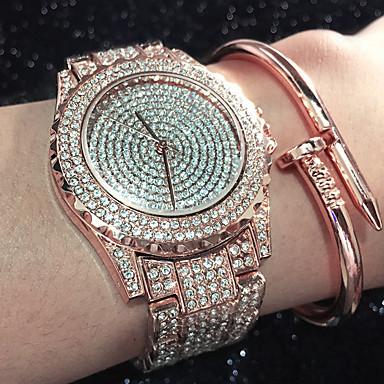 Dames Kwarts Armbandhorloge Chinees Waterbestendig / Creatief / imitatie Diamond Roestvrij staal Band Amulet / Glitter / Informeel /