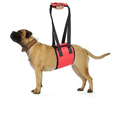 Hond Lijnen draagbaar Vouwbaar Veiligheid Verstelbaar Effen Zwart Rood