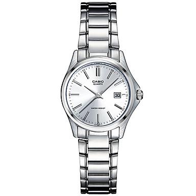 Casio Damen Modeuhr Armbanduhr Armbanduhren für den Alltag Japanisch Quartz Wasserdicht Edelstahl Band Bequem Elegante Silber