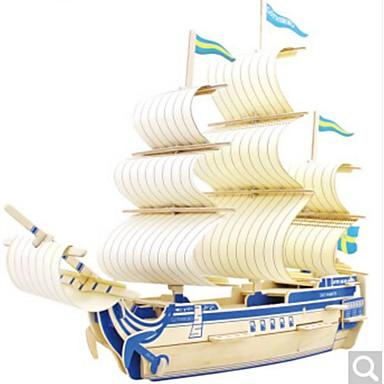 3D-puzzels Legpuzzel Houten modellen Oorlogsschip Schip 3D DHZ Hout Natuurlijk Hout Kinderen Unisex Geschenk