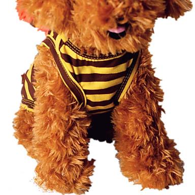 كلب سترة ملابس الكلاب كاجوال/يومي مخطط أصفر بني شريط كوستيوم للحيوانات الأليفة