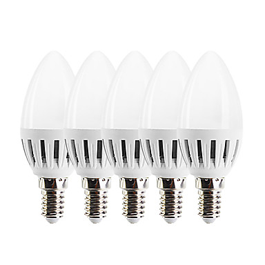 EXUP® 5pcs 3W 270lm E14 أضواء شموغ LED C37 15 الخرز LED SMD 2835 التحكم في الإضاءة أبيض دافئ 85-265V