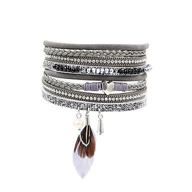 Dames Lederen armbanden Sieraden Natuur Modieus Bohemia Style Turks Gothic Kostuum juwelen Kunstdiamanten Leer Rechthoekige vorm Sieraden