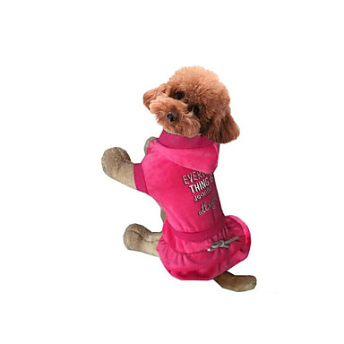 Hond Jurken Hondenkleding Casual/Dagelijks Letter & Nummer Grijs Fuchsia Kostuum Voor huisdieren