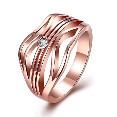 Damen Ring Kubikzirkonia Silber Rotgold Zirkon Kupfer versilbert Chrom Geometrische Form Irregulär Personalisiert Luxus Geometrisch